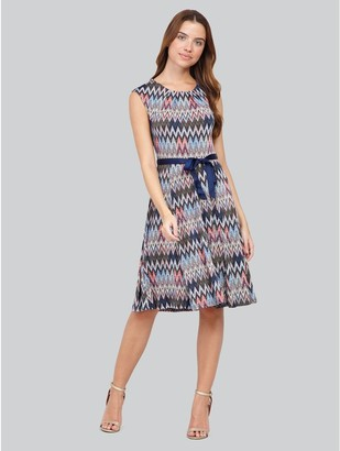 M&Co Izabel chevron print tie waist dress