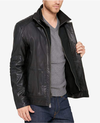 Cole Haan Men Leather Bomber Jacket