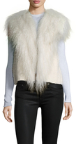 Helmut Lang Cotton Fur Fringe Distressed Vest