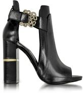 Roberto Cavalli Serpent Black Leather Sandal
