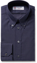 Turnbull & Asser Midnight-Blue Slim-Fit Button-Down Collar Checked Cotton Shirt