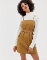 Asos Design DESIGN denim strappy dress with belt in toffee