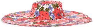 Zimmermann Frayed Floppy floral linen hat