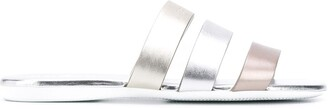 Hogan Metallic Leather Sliders