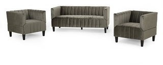 Christopher Knight Home Weymouth Channel-stitch Velvet Sofa and Chair Set