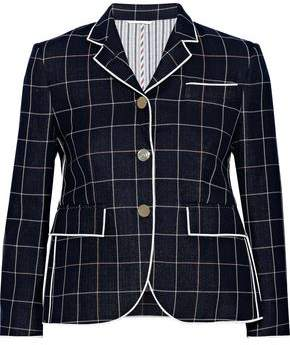 Thom Browne Checked Wool, Cotton And Silk-blend Blazer