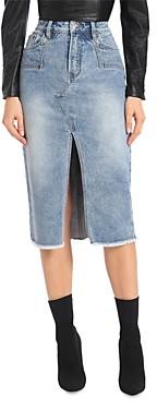 AVEC LES FILLES Denim Midi Skirt in Sedona Blue