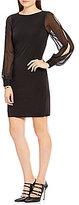 Ivanka Trump Chiffon Sleeve Matte Jersey Sheath Dress