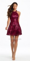 Camille La Vie Sequin Halter Fit And Flare Cocktail Dress