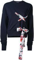 MSGM floral ribbon-tie sweatshirt - women - Cotton - M