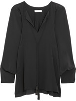 Chloé Beaded Tasseled Silk Crepe De Chine Blouse - Black