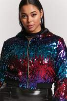 Forever 21 FOREVER 21+ Plus Size Hooded Sequin Jacket