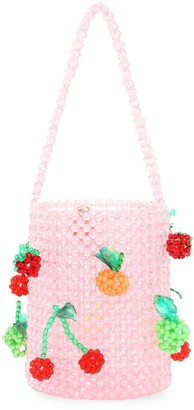 Susan Alexandra Fruit Salad Applique Beaded Bucket Bag