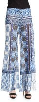 Fuzzi Wide-Leg Mixed-Print Pants
