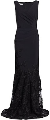 Teri Jon by Rickie Freeman Floral-Embroidered Tulle Soutache Hem Scuba Gown