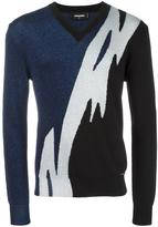 DSQUARED2 Tiger Flash lurex V-neck jumper - men - Polyester/Viscose/Wool - XS
