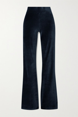 CALÉ Angelique Stretch-velour Flared Pants - Midnight blue
