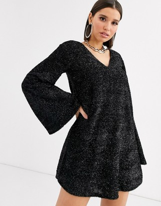ASOS DESIGN tinsel smock mini dress with bell sleeves
