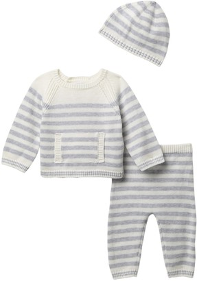 Little Me Striped Sweater, Bottom, & Beanie Set (Baby Boys)