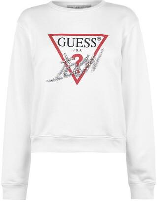 GUESS Triangle Logo Crew Neck Sweatshirt
