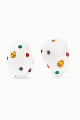 Mounser Gold-plated, Enamel And Crystal Earrings - White