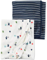 Carter's 2-Pk. Stripes & Monsters Cotton Swaddle Blankets, Baby Boys
