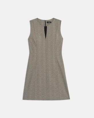Theory Seamed Volume Dress in Herringbone Knit