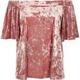 River Island Womens Blush pink velvet bardot top