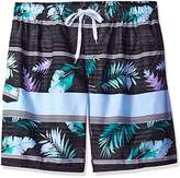 Kanu Surf Men's Big Condor Extended Size Stripe Floral Swim Trunk