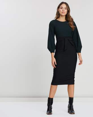 Closet London Pleated Long Sleeve Dress
