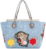 Philipp Plein flower tiger patch tote