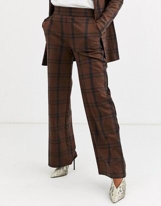 Ichi check wide leg suit trousers
