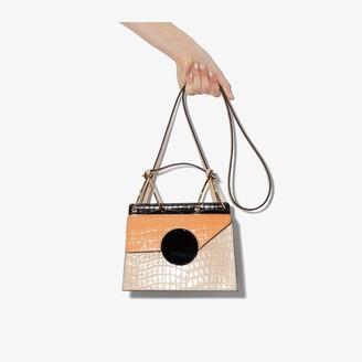 Danse Lente neutral and black Phoebe Bis mock croc leather bag