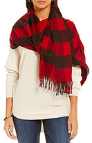 Fraas V. Cashmink Fringed Buffalo Plaid Blanket Wrap