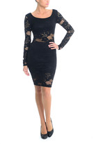 Sentimental NY - Stretch Embroidered Lace In Long Sleeves Knee Length Lace Dress-Sn702
