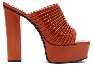 Givenchy Ribbed Leather Platform Mules - Tan
