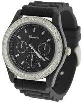Silver Bin SilverBin Geneva Women's Platinum Chronograph-style Silicone Watch