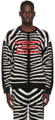 Burberry Black and White Jacquard Zebra Sweater