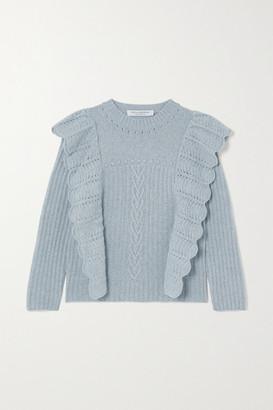 Philosophy di Lorenzo Serafini Ruffled Melange Cashmere And Wool-blend Sweater - Light blue