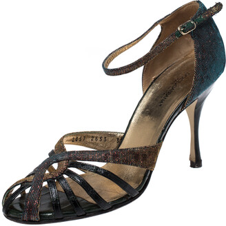 Dolce & Gabbana Multicolor Leather And Lame Fabric Strappy Ankle Strap Sandals Size 39