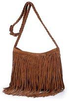 Tote Bag Magicub Women Faux Suede Leather Tassel Fringe Shoulder Bag Crossbody Handbag (CM)