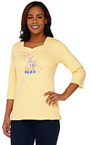 As Is Quacker Factory Floral Embroidered 3/4 Sleeve T-shirt