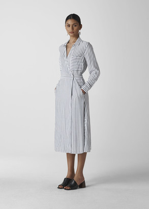 Stripe Wrap Shirt Dress