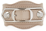 Balenciaga Double Studded & Double Buckle Leather Bracelet