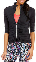 Calvin Klein Zip Front Ruched Knit Jacket