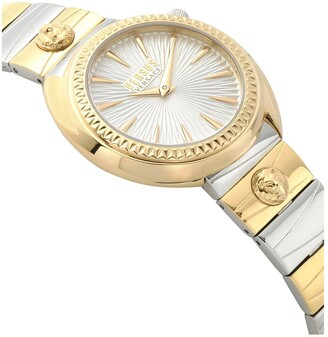 Versace Silver and Gold Detail Dial Two Tone Stainless Steel Bracelet Ladies Watch