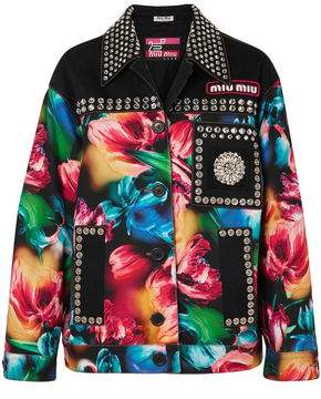 Miu Miu Crystal-embellished Floral-print Denim Jacket