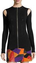 McQ by Alexander McQueen Body-Con Slit-Sleeve Zip-Front Top, Black