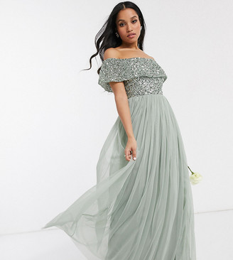 Maya Petite Bridesmaid bardot maxi tulle dress with tonal delicate sequins in sage green