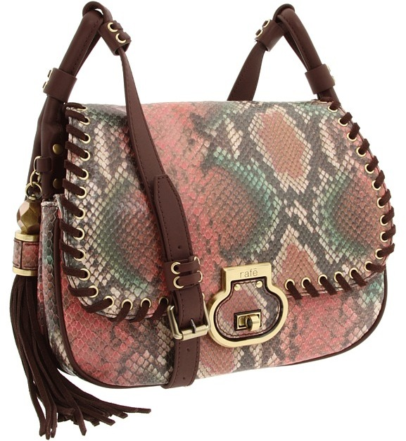 Rafe New York Denise Painted Python Flap Shoulder (Coral) - Bags and Luggage